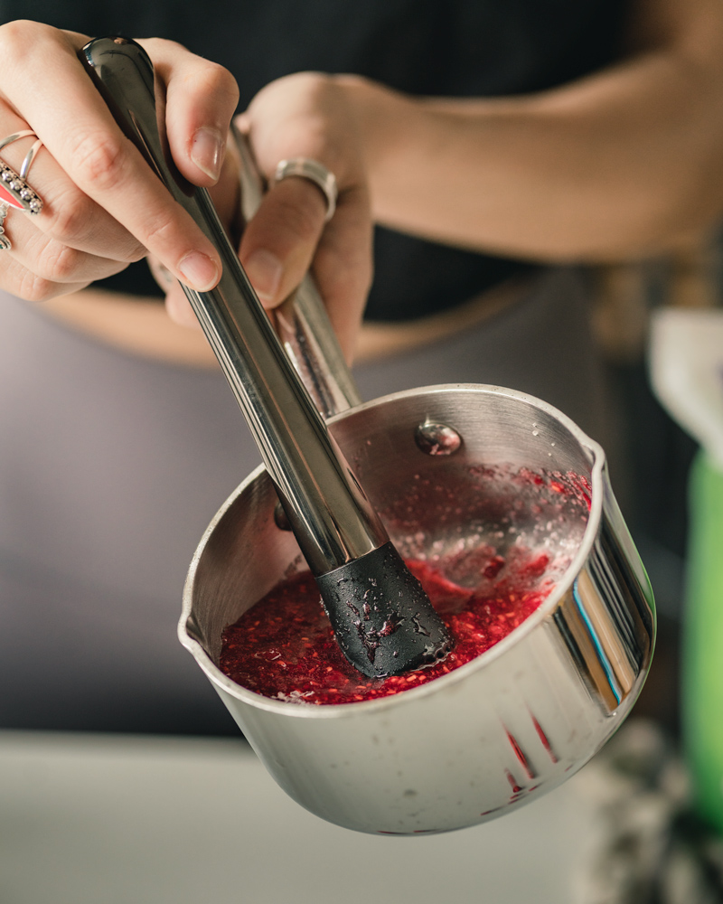 Macerating the fresh berries with cane sugar