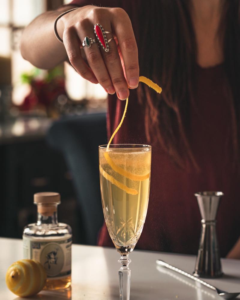 Garnishing with lemon zest