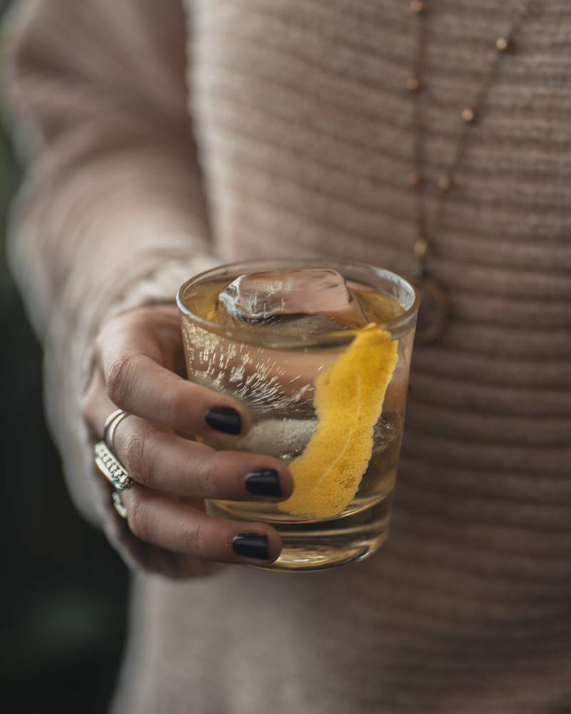 White negroni cocktail with salers and gin