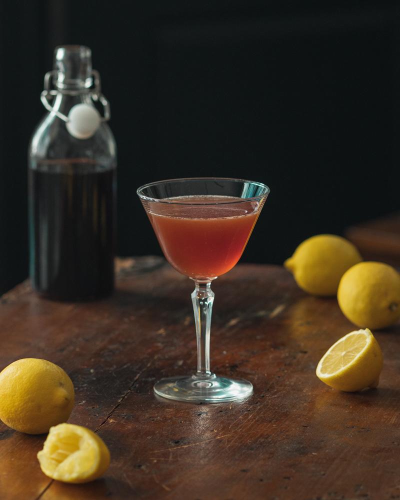 Fresh Lemon Juice and Grenadine for the Scofflaw
