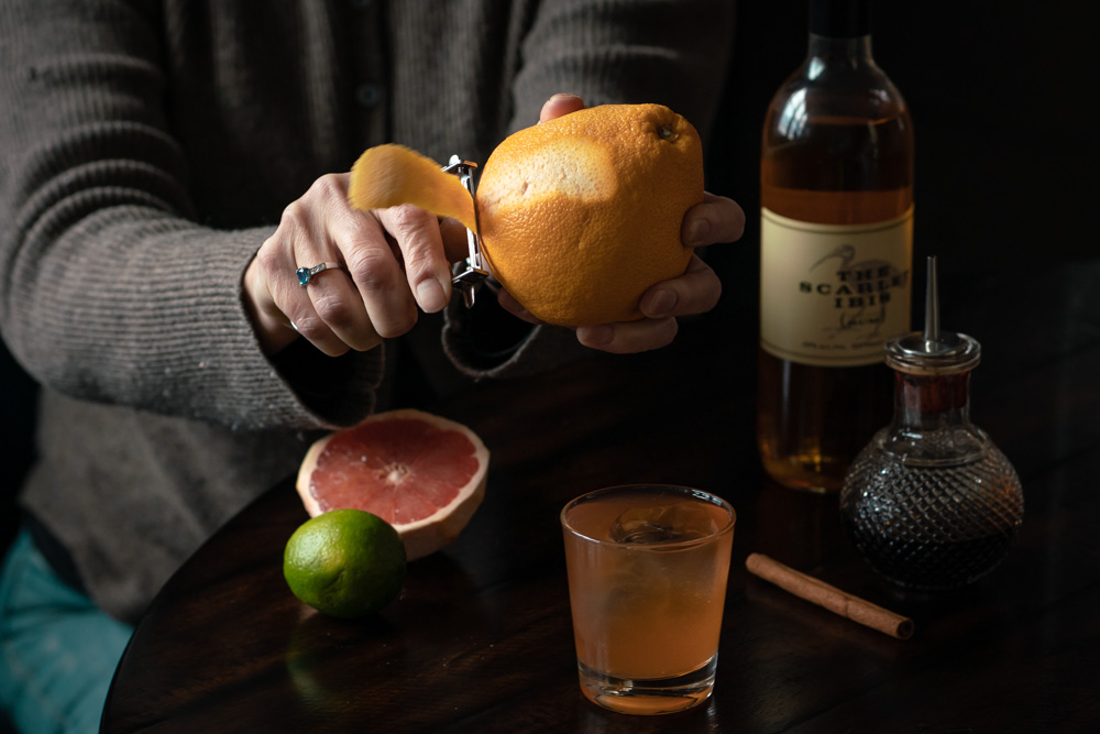 Grapefruit Peel on the Rum Old Fashioned
