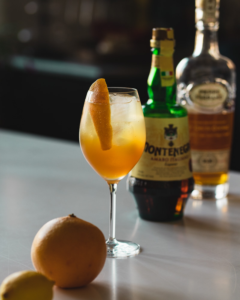 spritz style cocktail with amaro and cognac