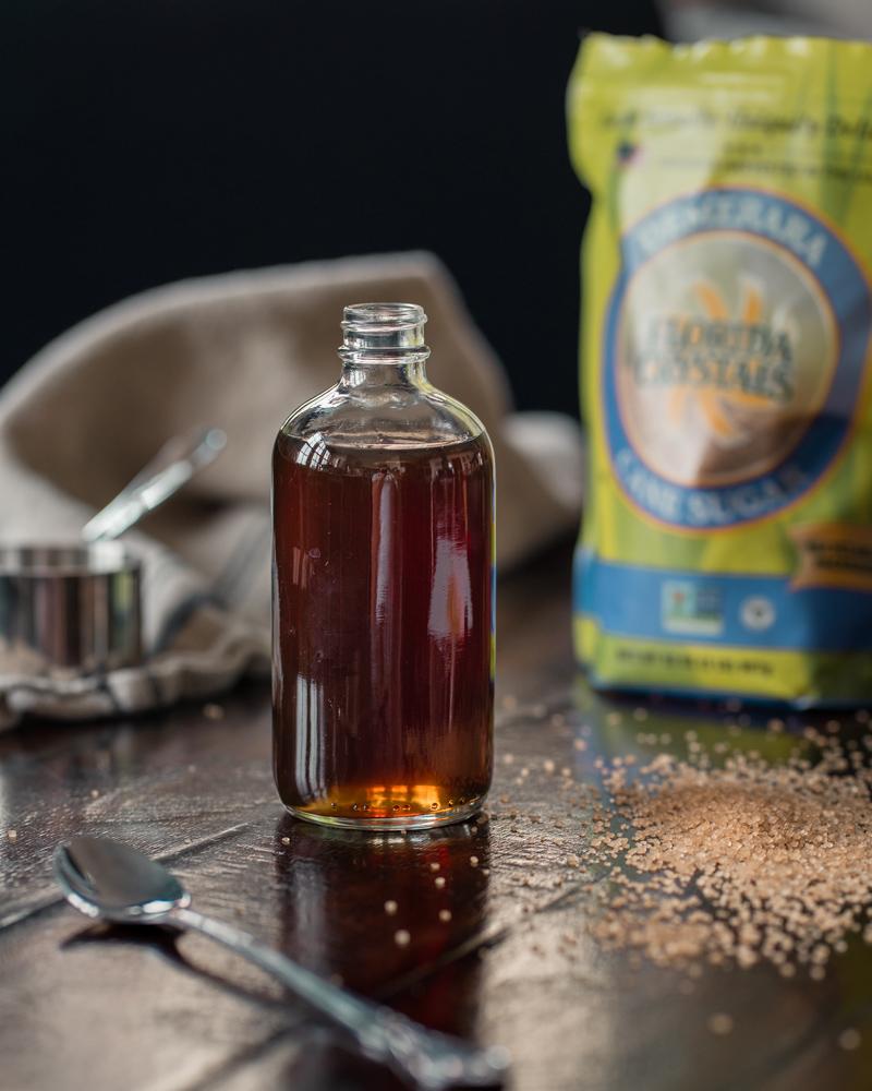 Demerara Simple Syrup in a little glass jar