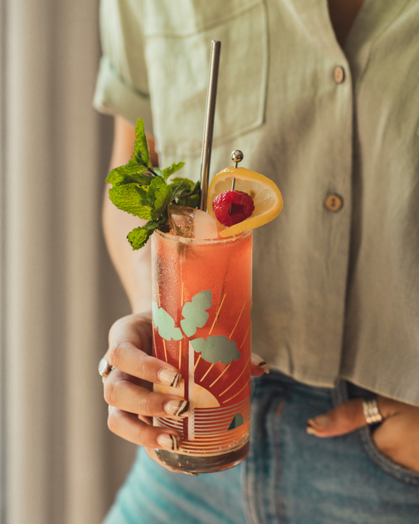 Garnished Bourbon Buck cocktail