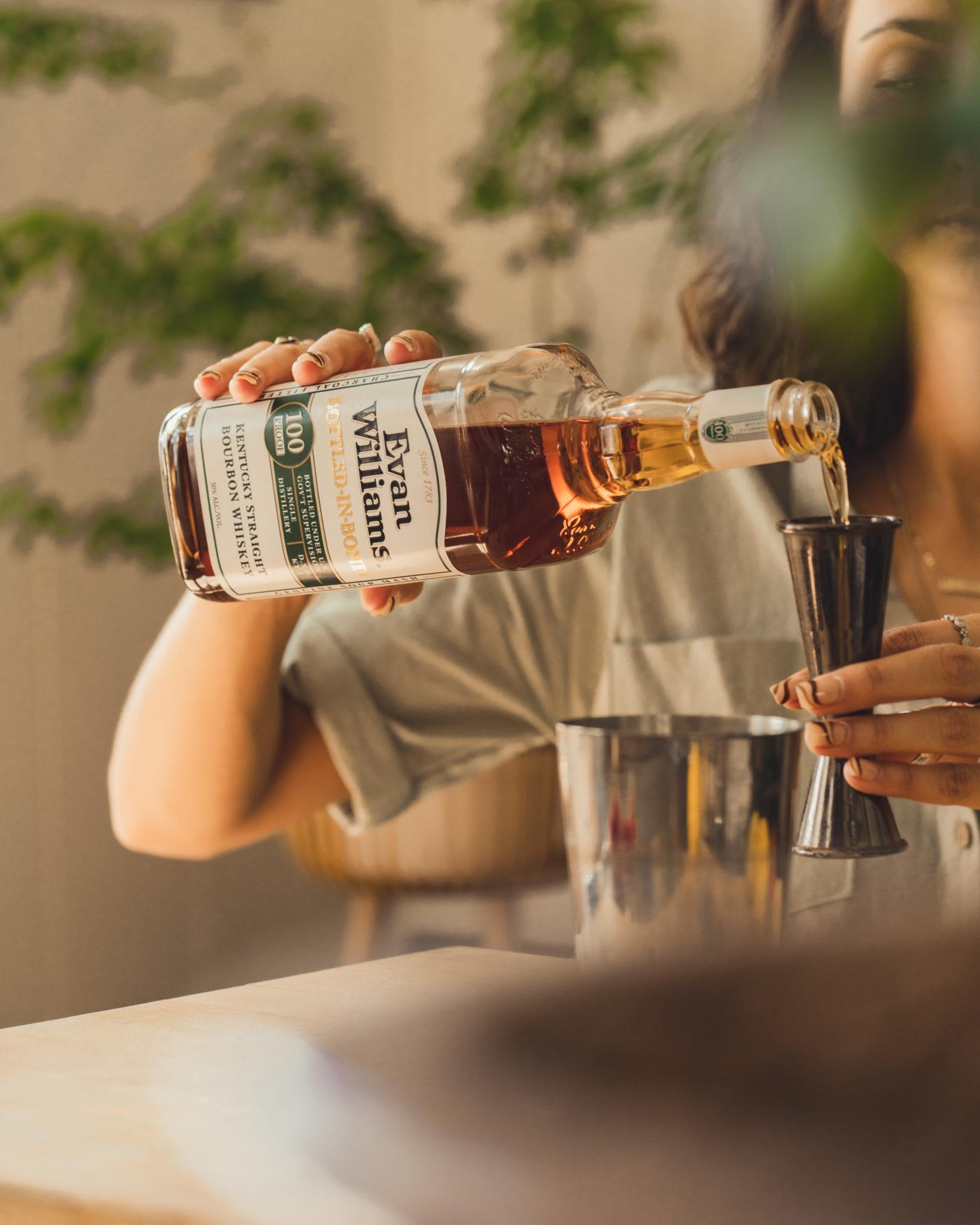 measuring bourbon whiskey